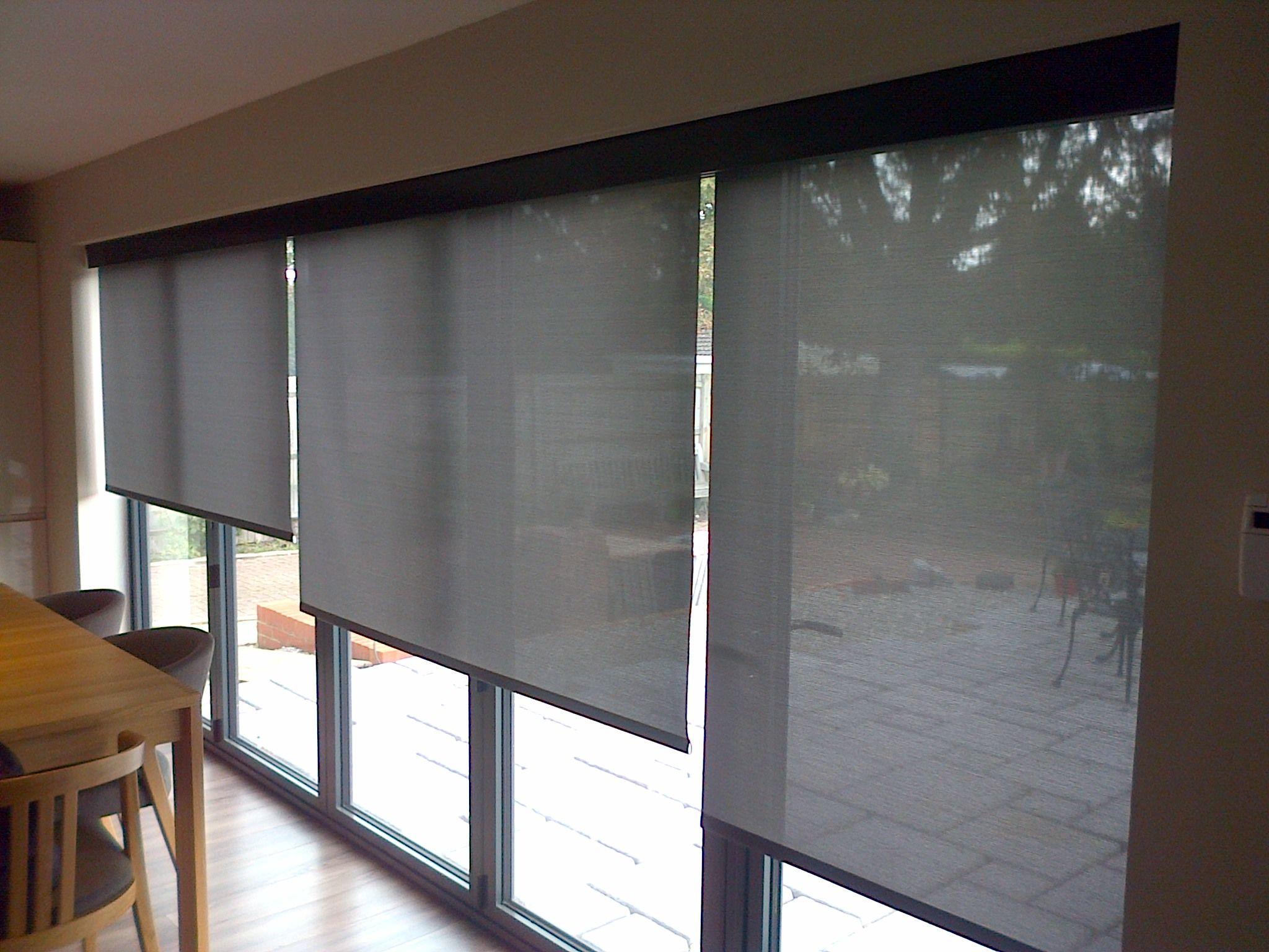 Electric Blinds Look Great On All Bifold Doors Sliding Door Window Treatments Blinds For Bifold Doors Patio Door Blinds