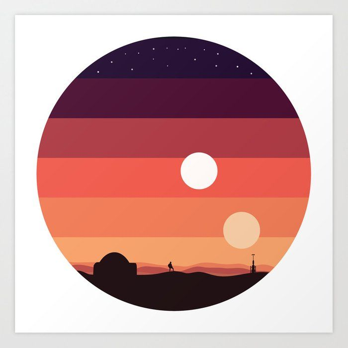 Tatooine Sunset Art Print By Leeannwoolbright Society6 Star Wars Canvas Painting Star Wars Painting Star Wars Art