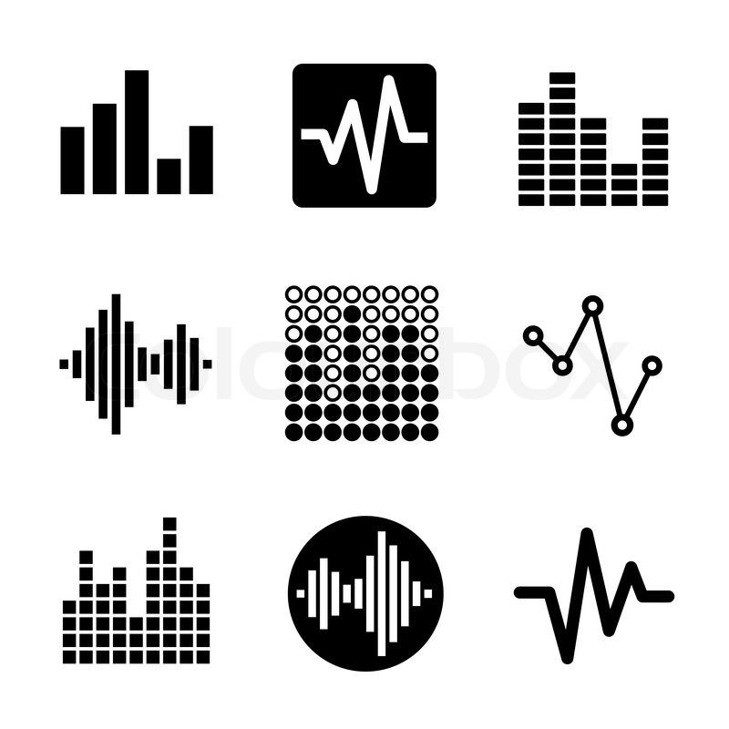 Music Soundwave Equalizer Graphics Icons Set Vector Vector Colourbox Music Logo Design Music Logo Sound Waves