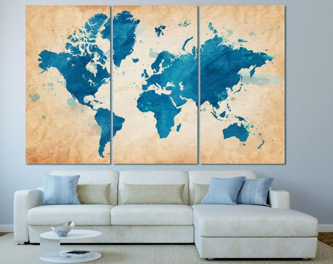 Large watercolor blue world map art canvas print set watercolor large watercolor blue world map art canvas print set watercolor world map wall art print gumiabroncs Gallery
