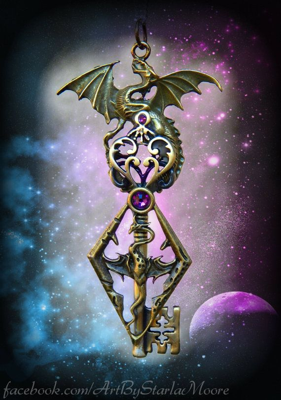 Legendary Dragon Handmade Artisan Key Pendant by ArtbyStarlaMoore, $45.00