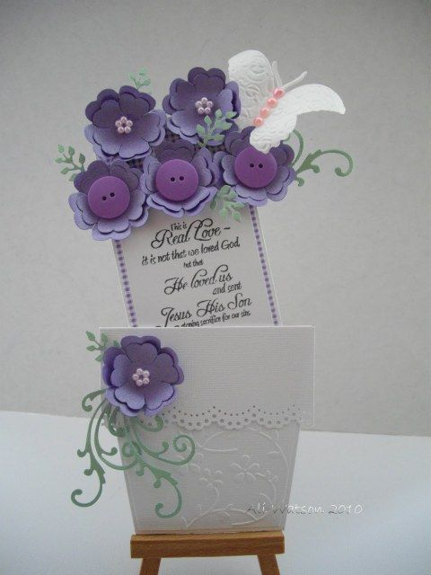 flower pot card - like how she added the butterfly to the flowers