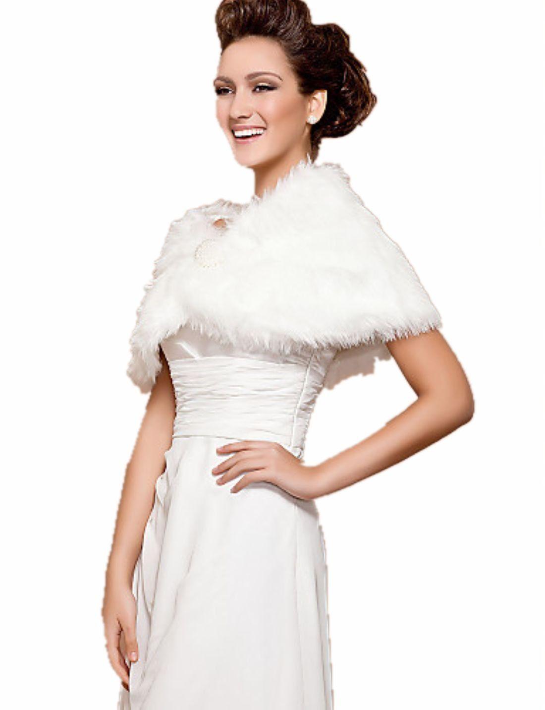 Fur wedding dress  New Ivory Faux Fur Wedding Bridal Shawl Wrap Stole  Indian wedding