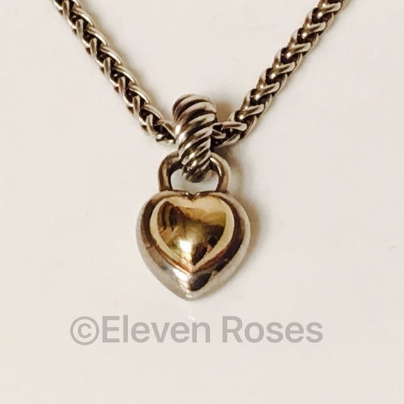 "David Yurman Classic Cable Heart Enhancer Necklace Davis Yurman Classic Cable Heart Pendant / Enhancer & Wheat Chain Necklace - 925 Sterling Silver & 585 14k Yellow Gold - Removable Enhancer Bail - 18"" 3mm Wheat Chain Necklace -  Hallmarked; D.Y., 925, 585 David Yurman Jewelry Necklaces"
