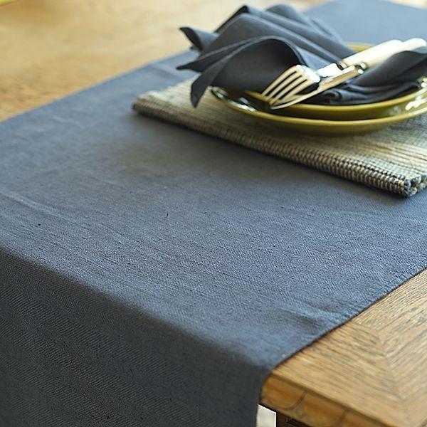 Beautiful French Blue Lara Linen Table Runner