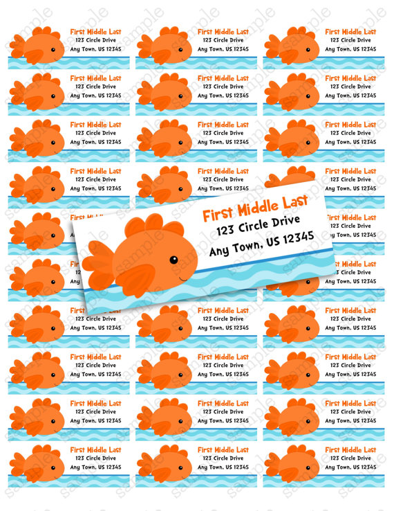 goldfish printable address label avery 5160 by periwinklepapery