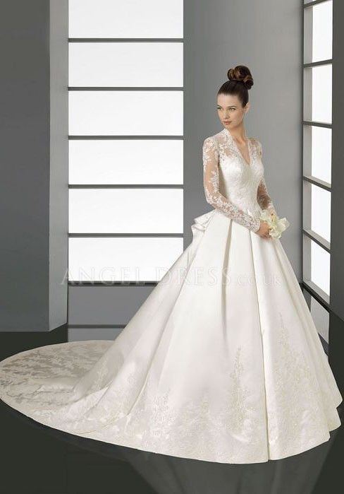 Satin V Neck Ball Gown Long Sleeve Floor Length Natural Waist Wedding Dress  With Appliques ed4065074cfa