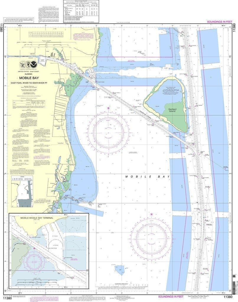 Noaa Nautical Chart 11380 Mobile Bay East Fowl River To Deer River Pt Mobile Middle Bay Terminal Nautical Chart River National Geospatial Intelligence Agency