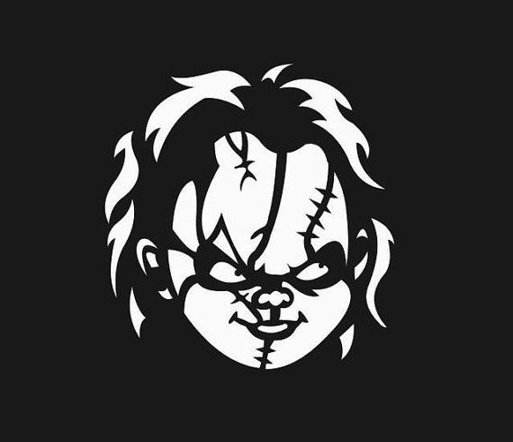 Chucky Clipart Black And White: Chucky Childs Play Horror Film Silhouette Custom Decal