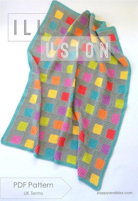 Illusion UK terms PDF crochet pattern | Decken, gehäkelte Teppiche ...