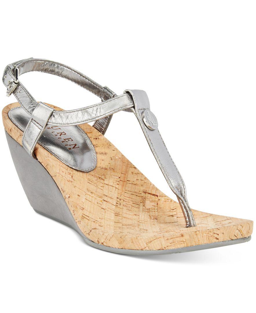 e87c35693ae2 Lauren Ralph Lauren Reeta T-Strap Thong Wedge Sandals