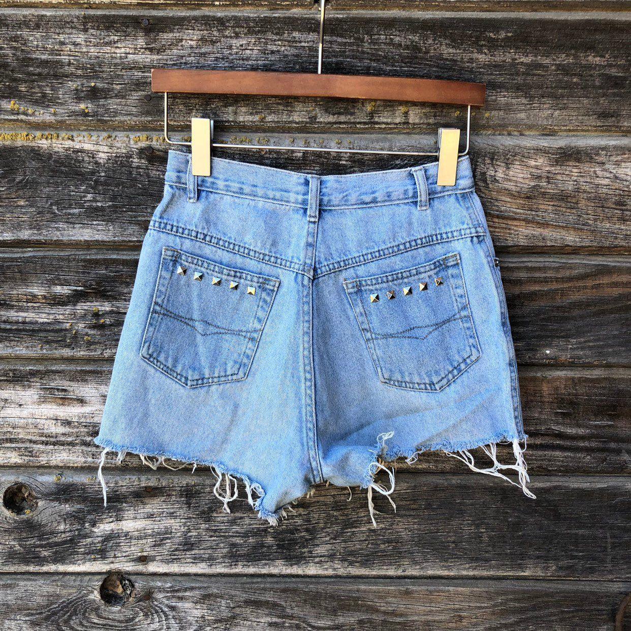 39312cf33149 Vintage Bugle Boy denim shorts cut-off jean shorts waist 25 90s grunge  distressed frayed