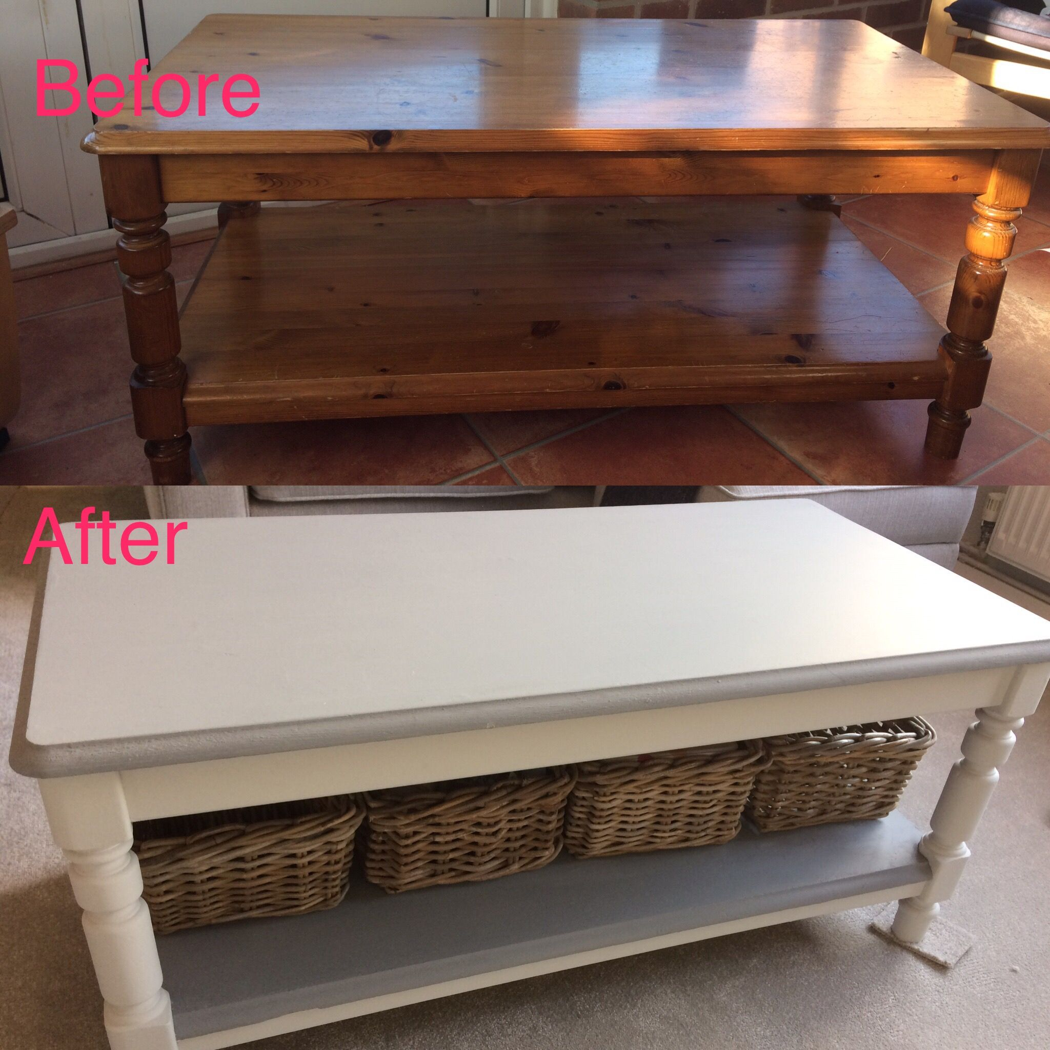 Pine Coffee Table Transformation Using Homebase Chalk Paint