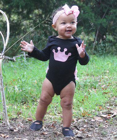 Black & Light Pink Ruffle Crown Bodysuit - Infant by Diva Daze #zulily #zulilyfinds