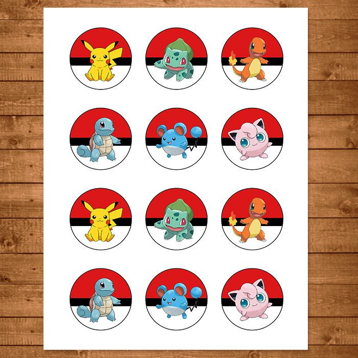 graphic about Pokemon Cupcake Toppers Printable referred to as Pokemon Cupcake Toppers Crimson White - Pokemon Stickers