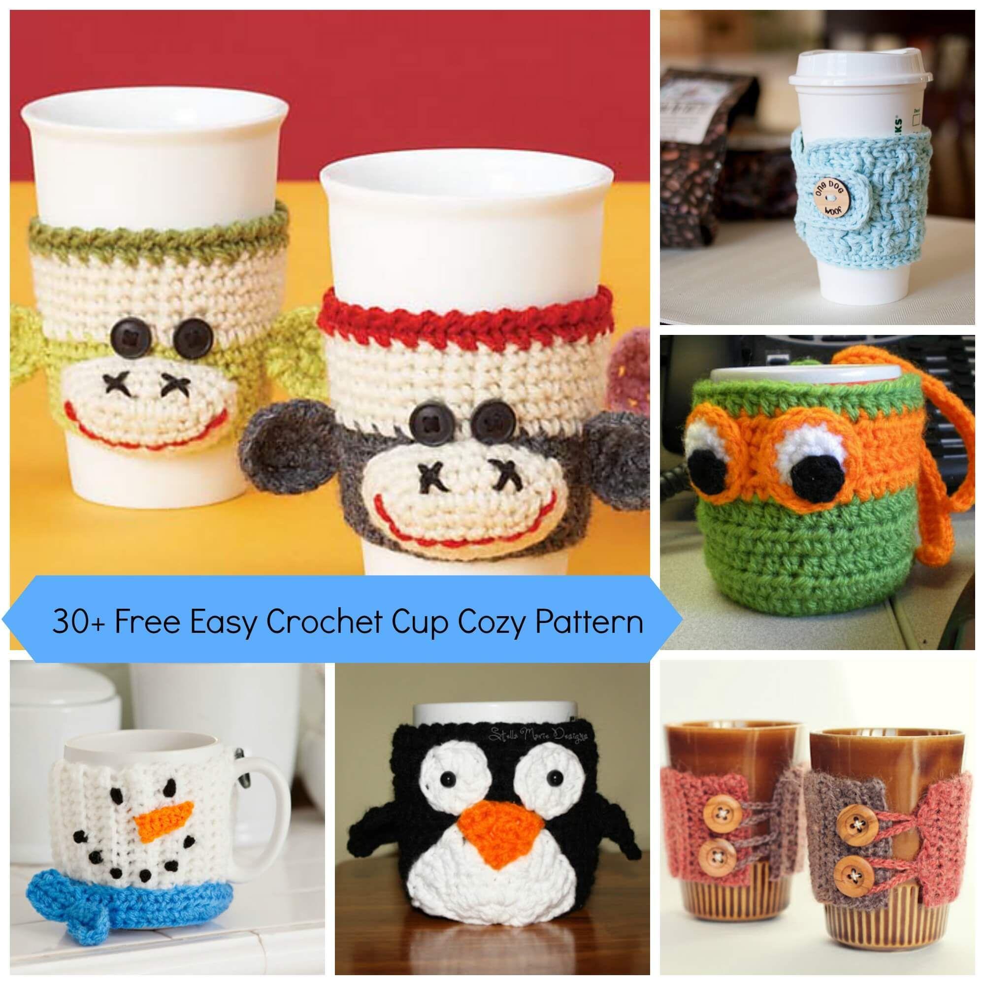 30+ Free Easy Crochet Cup Cozy Pattern | Tığ desenleri | Pinterest ...
