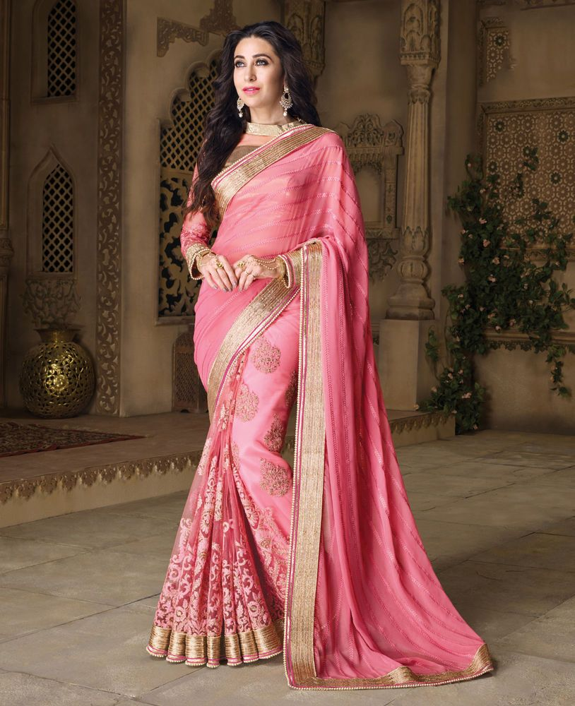 Indian Party Wear Pink Sari Saree Designer Bollywood Wedding ...
