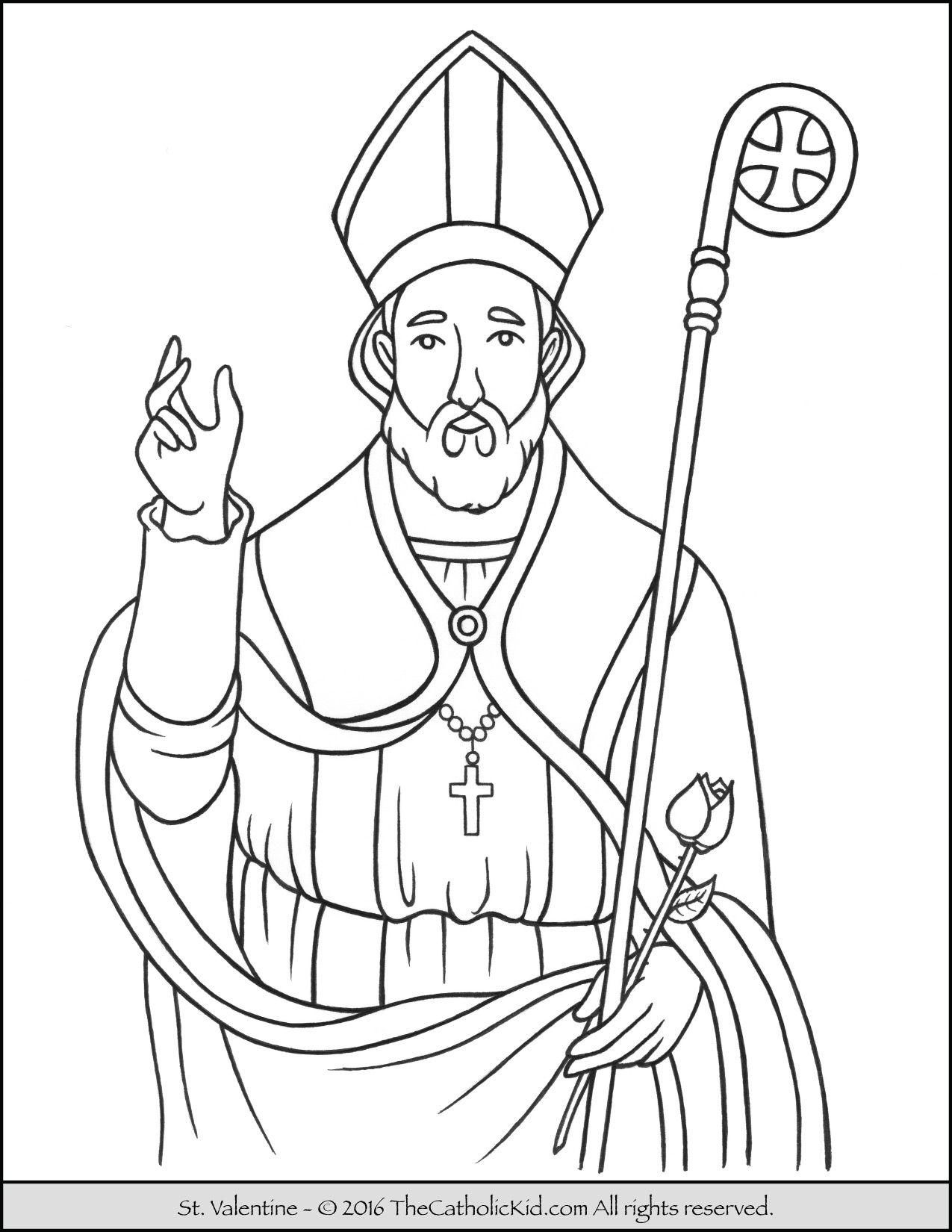Saint Valentine Coloring Page Catholic Saints