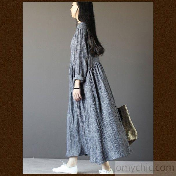 ae58a870d3b Top quality gray long sleeve linen dresses plus size fall maternity dresses