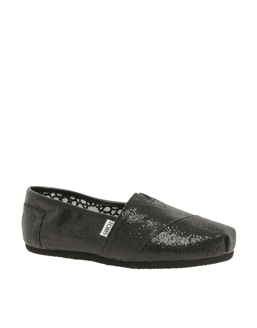 5cb544beccca Toms Classic Black Glitter Flat Shoes on Wantering | Gifts for Her | womens  flat shoes