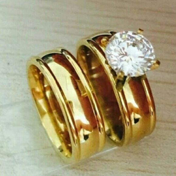 18K Gold Plated Wedding Band Engagement Ring Set Size 5 6 7 8 9 10 New