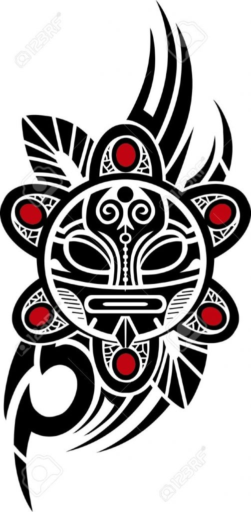 Puerto Rican Tribal Tattoos Taino Sun Tribal Vector Illustration ...