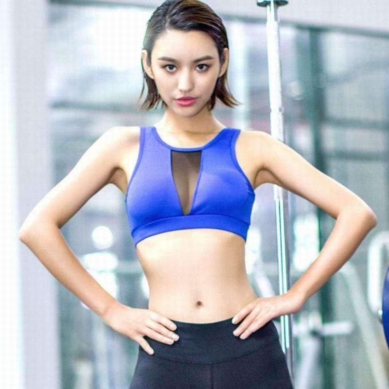 bb768883ad239 2017 Hot Sports Bra Mesh Fitness Top Shake proof Padded Yoga Bra Wire Free  Push Up