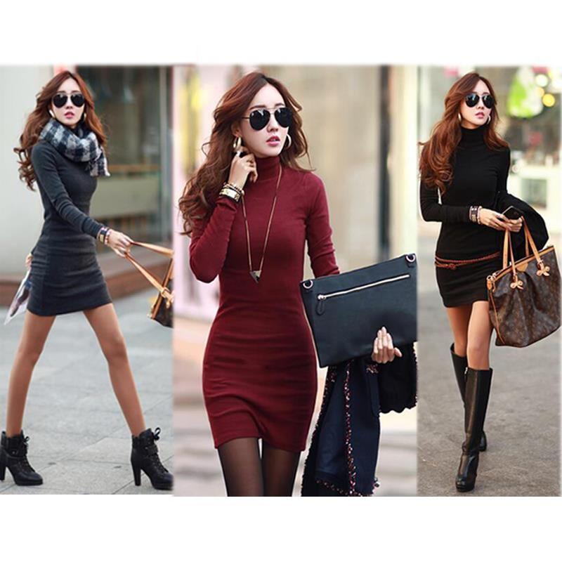 Pas cher Mini Tricot femmes robe col roulé coréenne vêtements rouge noir Slim…