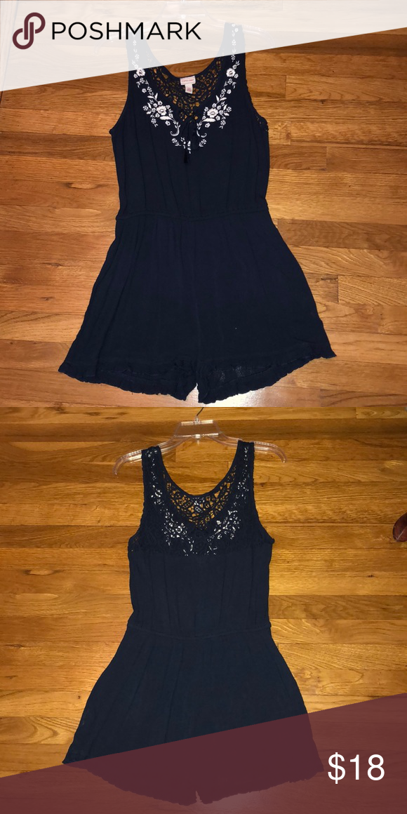 d1df3eb8df0c Aeropostale Cape-Juby Romper -navy blue -romper with shorts -lace detailing  on. Visit. February 2019
