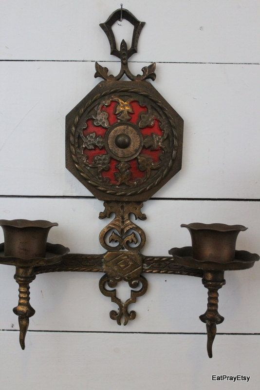 Ornate Brass Wall Sconces Candle Holders Victorian Gothic Lighting, via Etsy. For the Home ...