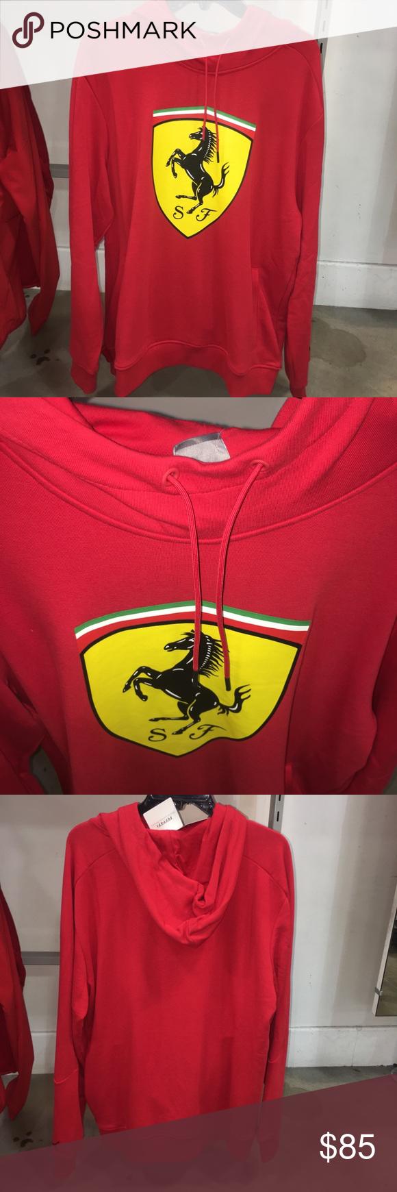 Puma X Ferrari Big Shield Men S Hoodie Red Yellow Red Hoodie Puma X Sweatshirts Hoodie