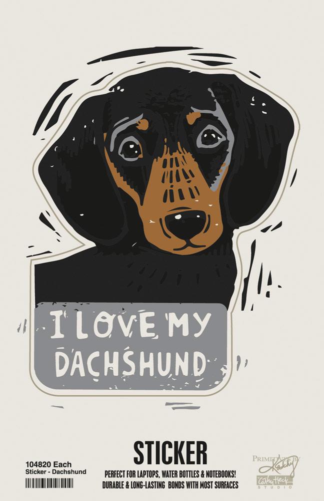 Dachshund I Love My Dog Shaped Sticker Dachshund I Love Dogs Dog Portraits