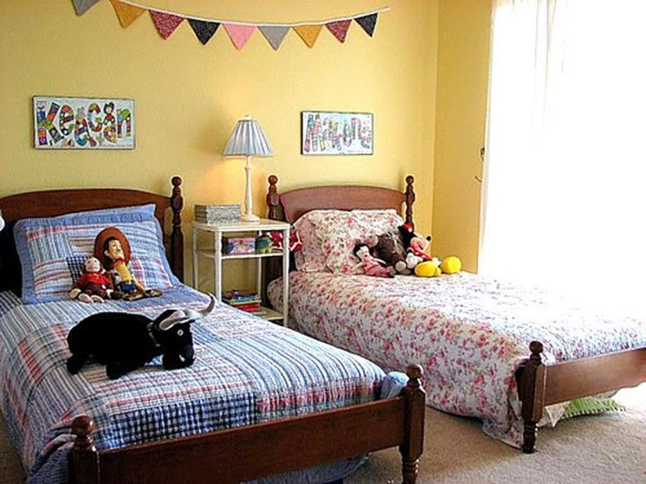 charming and playful kid spaces 20 shared bedroom ideas yellow wall blue boys bed flower girl bed