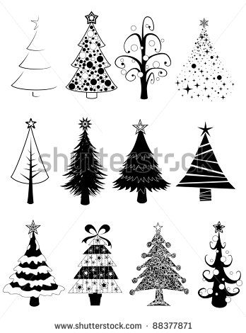 Twelve Black And White Isolated Christmas Tree Set By Wingedcats Via Shutterstock Christmas Illustration Christmas Doodles Christmas Paintings