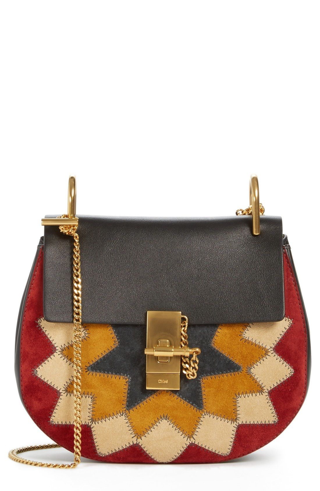 Chloé 'Drew Wonder Woman' Patchwork Suede   Exquisite Bags in 2019   Leather shoulder bag. Leather crossbody bag. Crossbody saddle bag