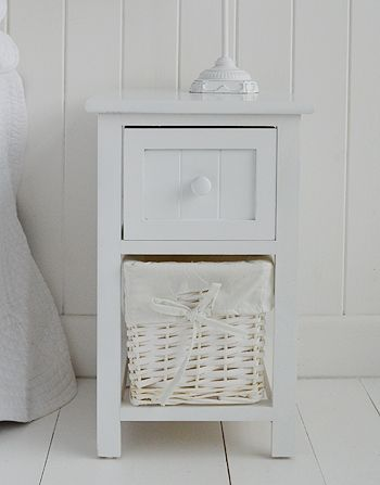 close view of bar harbor small white bedside table with basket ...