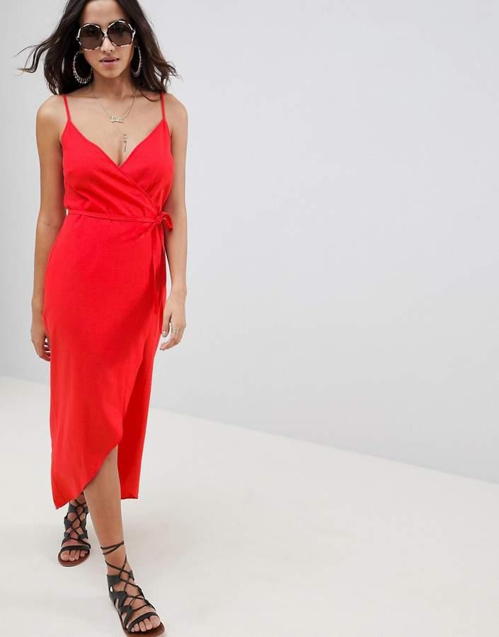 b1af3ab62edb91 Asos DESIGN cami wrap linen maxi slip dress