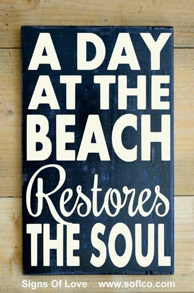 Hand Painted Rustic Wood Beach Decor Sign Beach House Quote Summer Gift Plaque Coastal Nautical A Day At The Beach Restores The Soul Destination Vacation