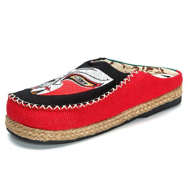 Pattern Matching Slip On Round Toe Casual Folk Shoes Worldwide