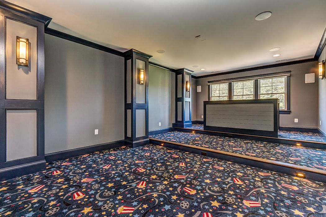 Media Room Theater Custom Built Bar Seat Movie Carpet Black Out Honeycomb Blinds