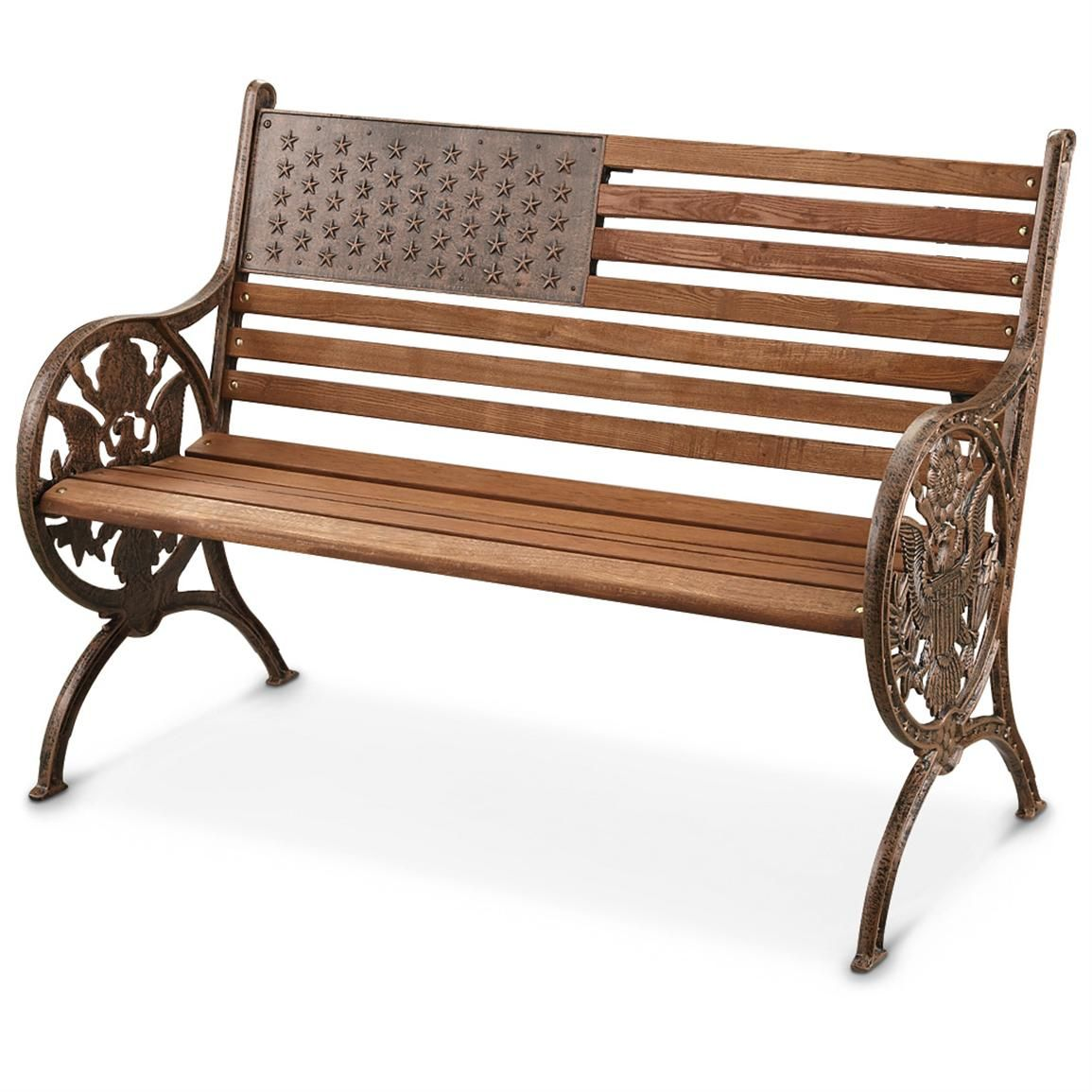 American Proud Cast Iron Wood Park Bench Sturdy Stately And