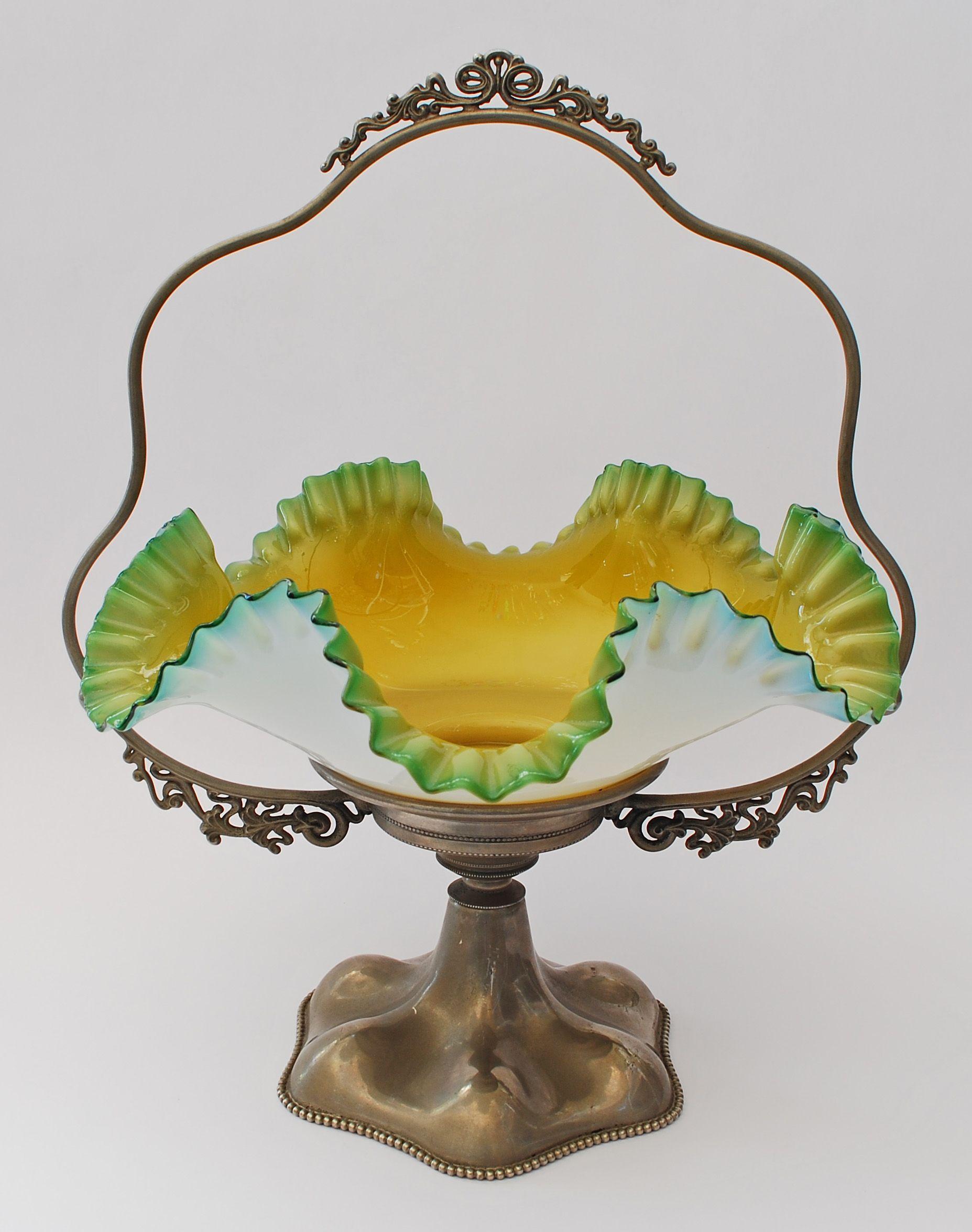 Brides basket cased glass bowl with metal holder c1895