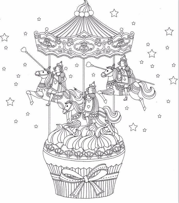 Cup cake carousel coloring page | Coloring books | Pinterest ...