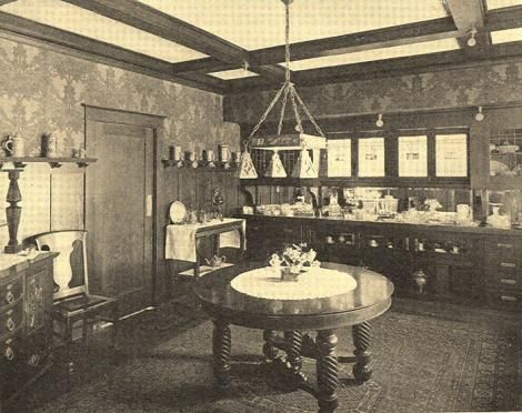 Dining Room From 1912 Has Several Distinct Features Beamed Ceilings Built In Sideboard