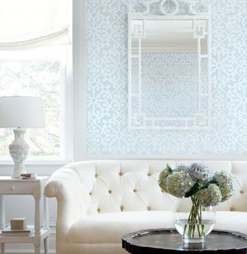 Ideas for my little beach cottage!  Can't wait! bedroom wallcovering over white beadboard (using it for our headboard)