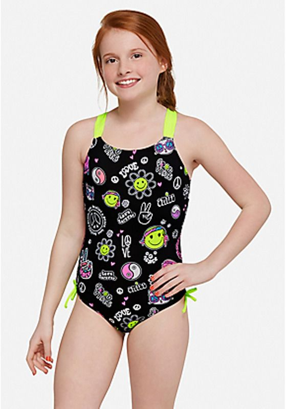 7d93e6b26a Justice Girl's Peace Love & Emoji One Piece Bathing Suit Size 6 NWT  #Justice #Swimsuit