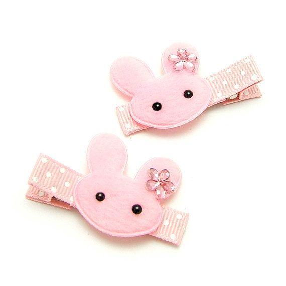 Pink Bunny Hair Clips Bunny Barrettes No Slip Alligator Clips Kawaii Bunny Pink Bunny Rabbit Baby Toddler Girl Kawaii Bunny Diy Hair Accessories Hair Clips