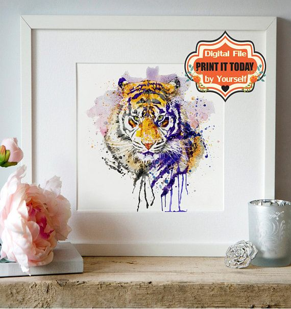 Tiger Head Instant Download Watercolor Portrait Wall Art Printable
