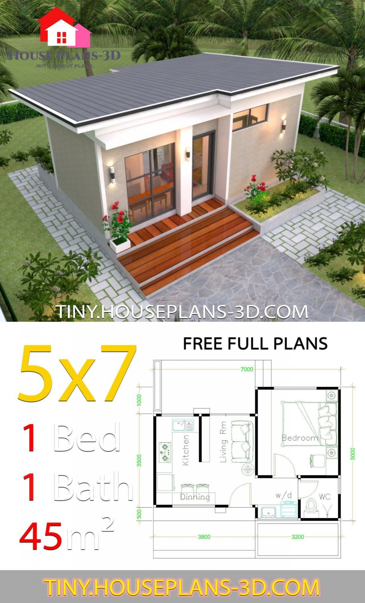 Tiny House Plans One Floor One Bedroom Small House Design Plans 5 7 With E Bedroom Shed Roof H In 2020 Small House Design Plans Simple House Design One Bedroom House