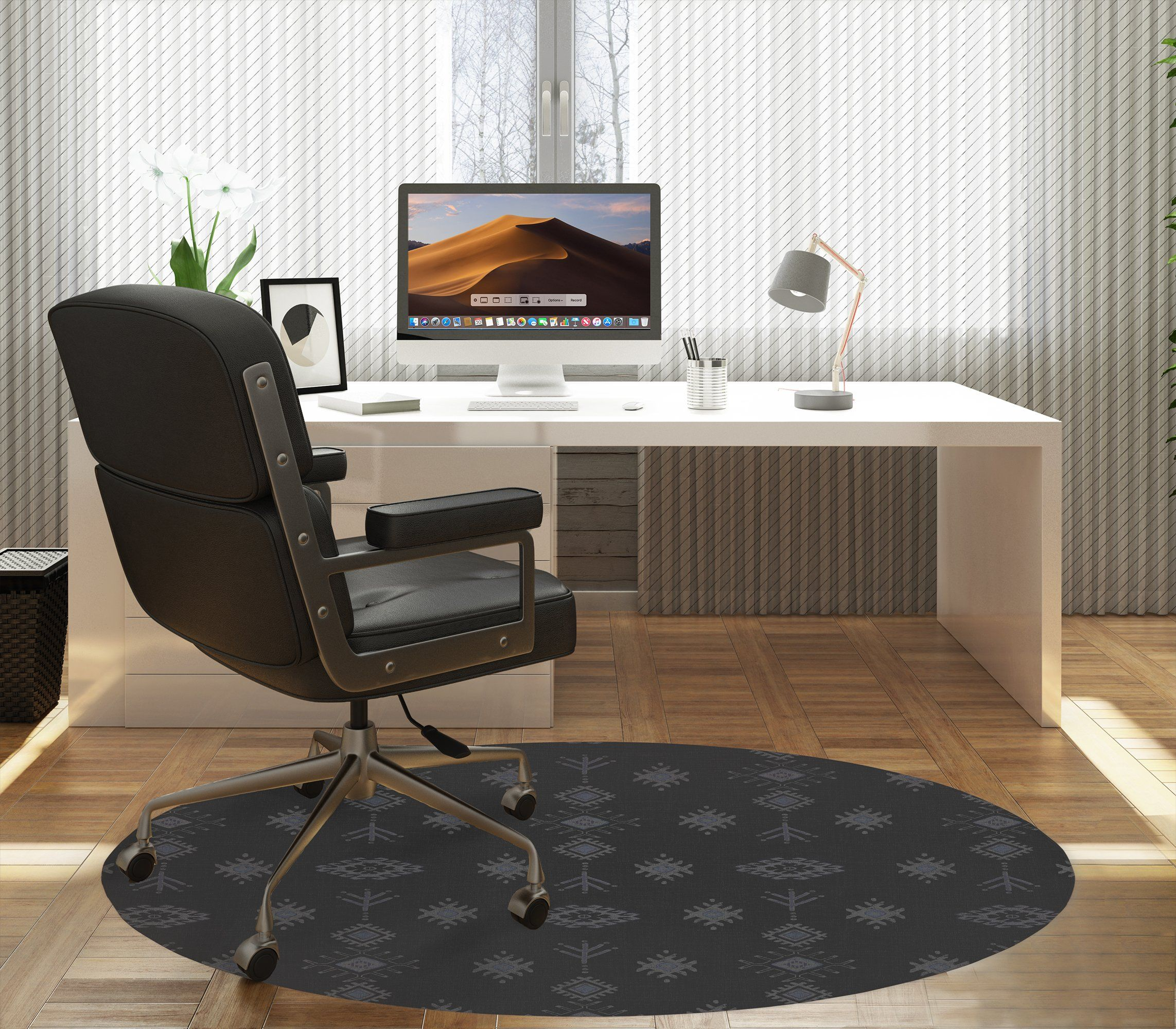 KILIM CHARCOAL Office Mat By Kavka Designs – Round 5ft x 5ft